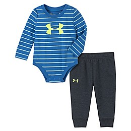 Under Armour® 2-Piece Striped Bodysuit and Pant Set in Blue