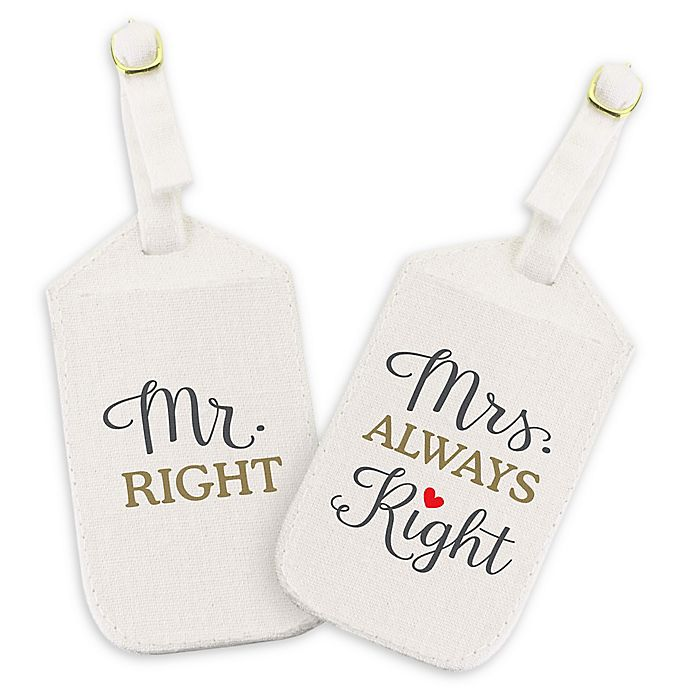 Lillian Rose Mr Amp Mrs Right Luggage Tags In Off White