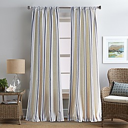 Coastal Life Brookhaven Rod Pocket Window Curtain Panel in Indigo
