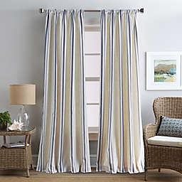 Coastal Life Brookhaven Rod Pocket Window Curtain Panel in Indigo