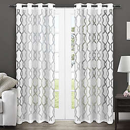 Rio Burnout 96-Inch Grommet Window Curtain Panel in Winter White