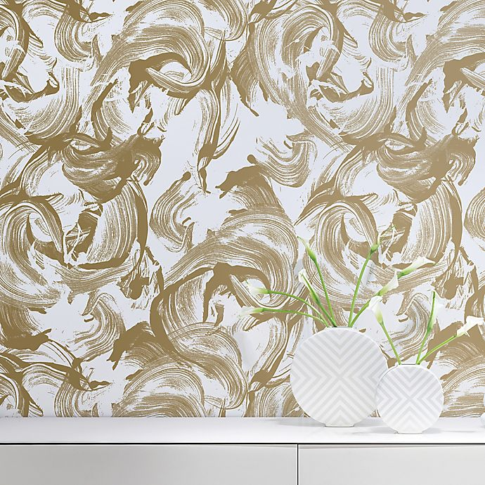 Tempaper L Amour Peel And Stick Wallpaper In Gold White Bed Bath Beyond