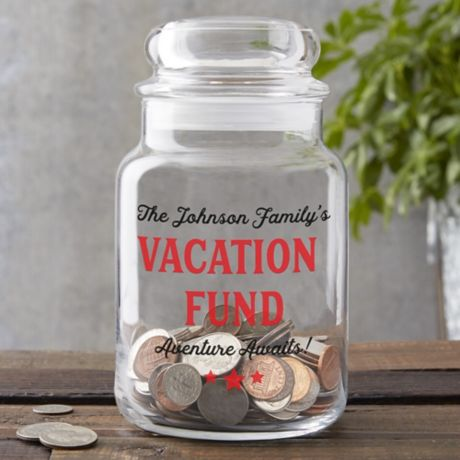 Vacation Fund Personalized Glass Money Jar Bed Bath Beyond