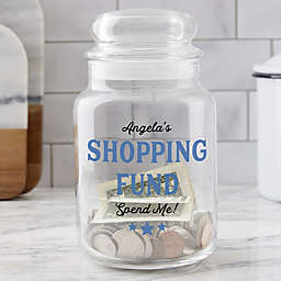 Shopping Fund Personalized Glass Money Jar
