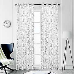 Tess 84-Inch Grommet Sheer Window Curtain Panel in Grey