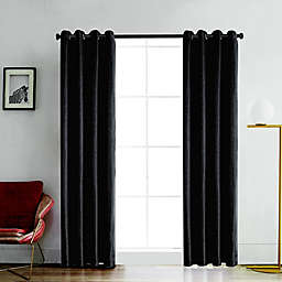 Venus 84-Inch Grommet Room Darkening Window Curtain Panel in Charcoal
