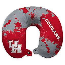 University of Houston Splatter Print Plush Microfiber Travel Pillow with Snap Closure