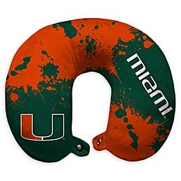 University of Miami Splatter Print Plush Microfiber Travel Pillow with Snap Closure