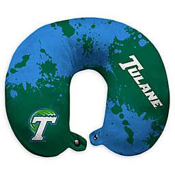 Tulane University Splatter Print Plush Microfiber Travel Pillow with Snap Closure