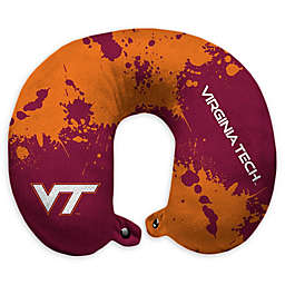 Virginia Tech University Splatter Print Plush Microfiber Travel Pillow with Snap Closure