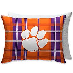 Clemson University Plaid Sherpa Bed Pillow