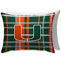 University of Miami Plaid Sherpa Bed Pillow