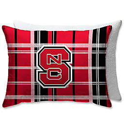 North Carolina State University Plaid Sherpa Bed Pillow