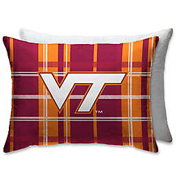 Virginia Tech University Plaid Sherpa Bed Pillow