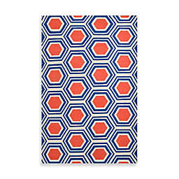 Jill Rosenwald Andrews 2' x 3' Accent Rug in Royal Blue/Coral/Cream