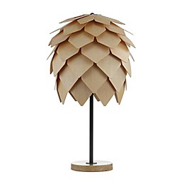 JONATHAN Y Simon Pinecone Wood LED Table Lamp in Black/Brown with Wood/Metal Shade