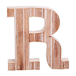 """Bee & Willow™ Home Monogram 6-Inch x 8-Inch Wood Letter """"R"""" Wall Art in White"""