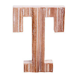 """Bee & Willow™ Home Monogram 6-Inch x 8-Inch Wood Letter """"T"""" Wall Art in White"""