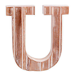 "Bee & Willow™ Home Monogram 6-Inch x 8-Inch Wood Letter ""U"" Wall Art in White"