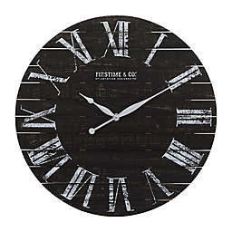 Firstime® Midnight Planks Round Wall Clock in Black