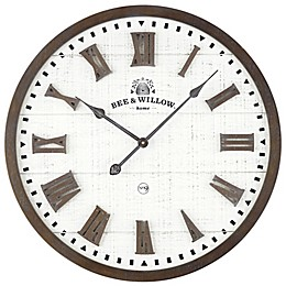 Bee & Willow™ Home Rustic Wood & Roman Grill 24-Inch Wall Clock in Brown/Cream