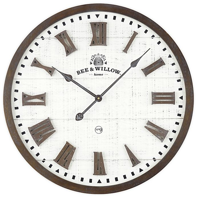Alternate image 1 for Bee & Willow™ Home Rustic Wood & Roman Grill 24-Inch Wall Clock in Brown/Cream