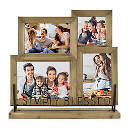 """Simply Blessed"" 4-Photo Picture Frame in Natural"