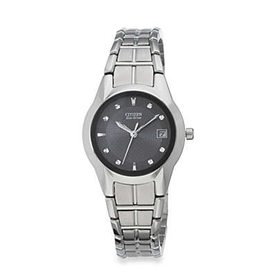 Citizen Ladies Eco-Drive Stainless Steel Bracelet with Black Dial