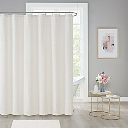 Wave Chenille Shower Curtain in White