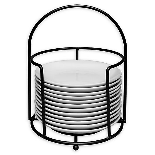 Alternate image 1 for B. Smith® 13-Piece Appetizer Plate Set in White with Black Metal Stand
