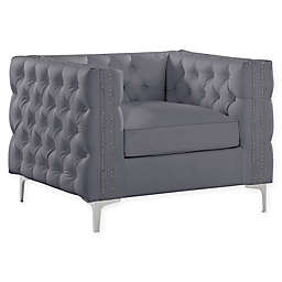 Chic Home© Picasso Upholstered Club Chair in Grey