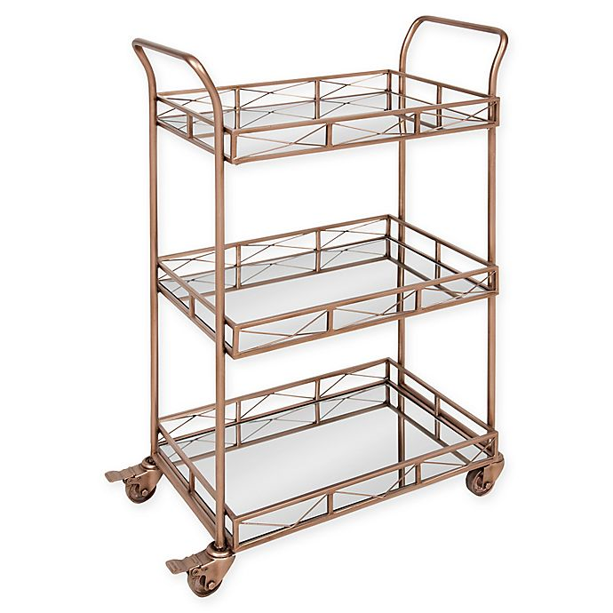 Alternate image 1 for Ketia 3-Shelf Metal and Mirror Rolling Bar Cart