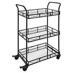 Ketia 3-Shelf Metal and Mirror Rolling Bar Cart in Black