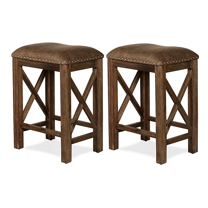 Excellent Hillsdale Furniture Willow Bend 26 Inch Faux Leather Counter Stools In Brown Set Of 2 Theyellowbook Wood Chair Design Ideas Theyellowbookinfo