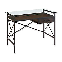 Southern Enterprises© Ely Glass Top Writing Desk in Aged Walnut