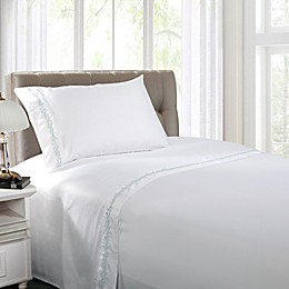 Coastal Life Coral 300-Thread-Count Embroidered Sheet Set
