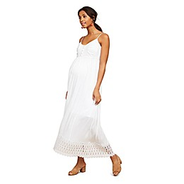 Motherhood Maternity® Crochet Detail Maxi Dress in White