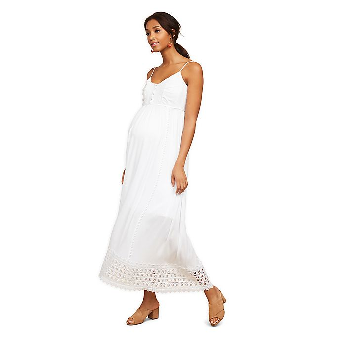 Alternate image 1 for Motherhood Maternity® Crochet Detail Maxi Dress in White