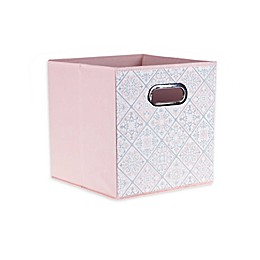 Relaxed Living Scroll Quilt 11-Inch Collapsible Storage Bin in Powder Pink