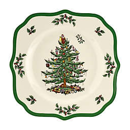 Spode® Christmas Tree 9-Inch Square Scalloped Salad Plate