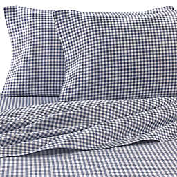 Hidden Retreat Lake & Lodge Gingham Check Full Sheet Set in Black