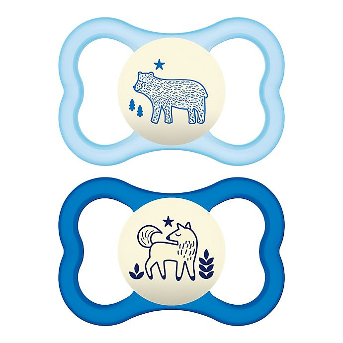 Alternate image 1 for MAM Air Night Orthodontic Ages 6+ Months Pacifier in Blue