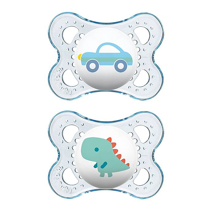 Alternate image 1 for MAM Clear 0-6M 2-Pack Pacifiers in Blue