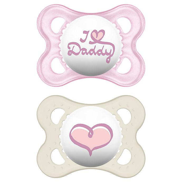 Alternate image 1 for MAM Love & Affection Age 0-6 Months I Love Daddy Pacifier in Pink (2-Pack)