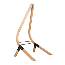 Vela Spruce Lounger Hammock Chair Stand in Caramel