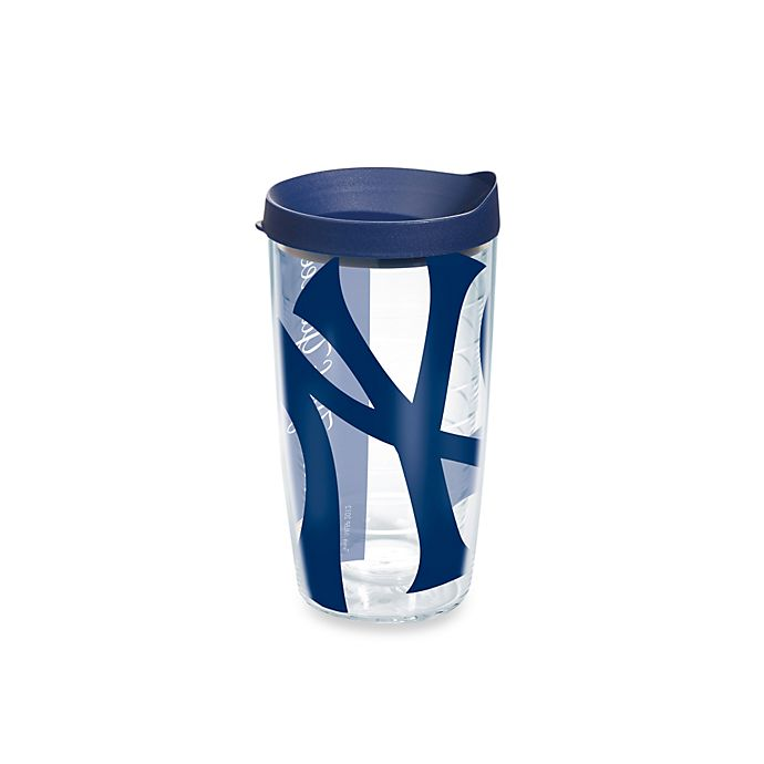 Alternate image 1 for Tervis® New York Yankees 16-Ounce Wrap Tumbler with Blue Lid