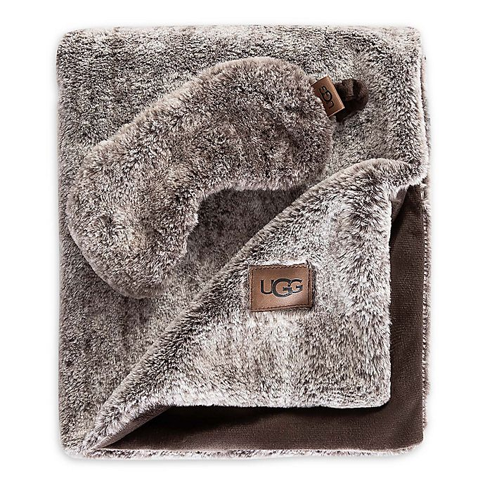 Alternate image 1 for UGG® Pinecreek Faux Fur Travel Set in Chocolate