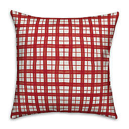 Designs Direct Watercolor Plaid Square Throw Pillow in Red