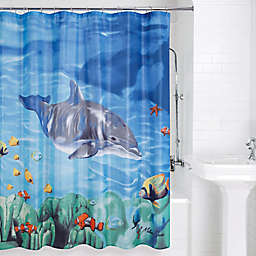 Dolphin and Fish Shower Curtain
