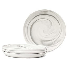 Artisanal Kitchen Supply® Coupe Marbleized Appetizer Plates in Grey (Set of 4)